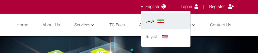 نحوه تغییر زبان در سایت تاپ چنج